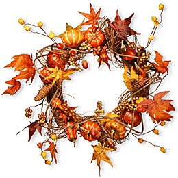 National Tree 20-Inch Maple and Pumpkin Wreath in Orange