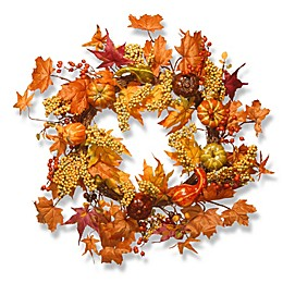 National Tree 24-Inch Maple and Pumpkin Wreath in Orange