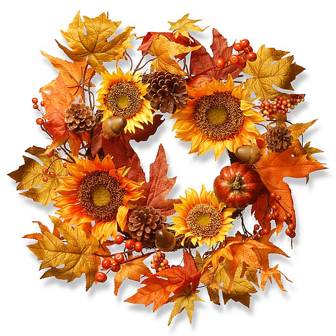 National Tree 22 Inch Sunflower Wreath In Orange Bed