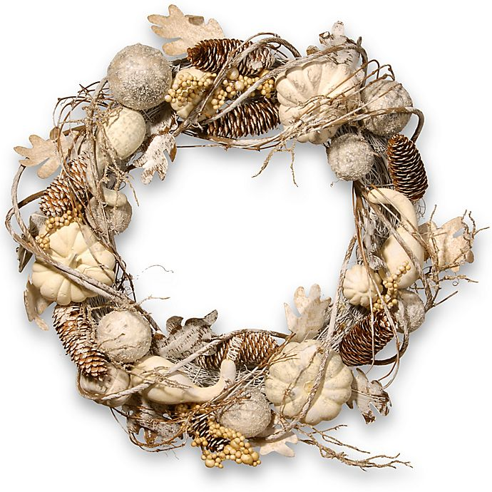 Alternate image 1 for National Tree 20-Inch Pumpkin and Pinecone Wreath in White