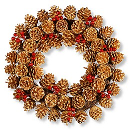 National Tree 20-Inch Glittered Pinecone Wreath in Brown