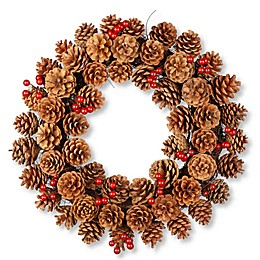 National Tree 20-Inch Pinecone Wreath in Brown