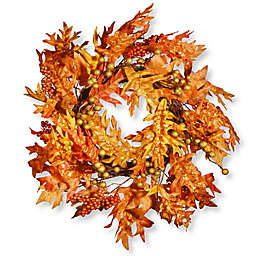 National Tree 20-Inch x 24-Inch Maple Leaf and Berry Wreath in Orange