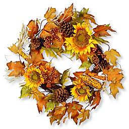 National Tree 24-Inch Autumn Sunflower Wreath in Yellow