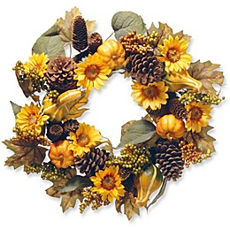 National Tree 22-Inch Autumn Sunflower Wreath