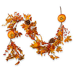 National Tree Company® 72-Inch Maple Leaf and Pumpkin Garland in Orange