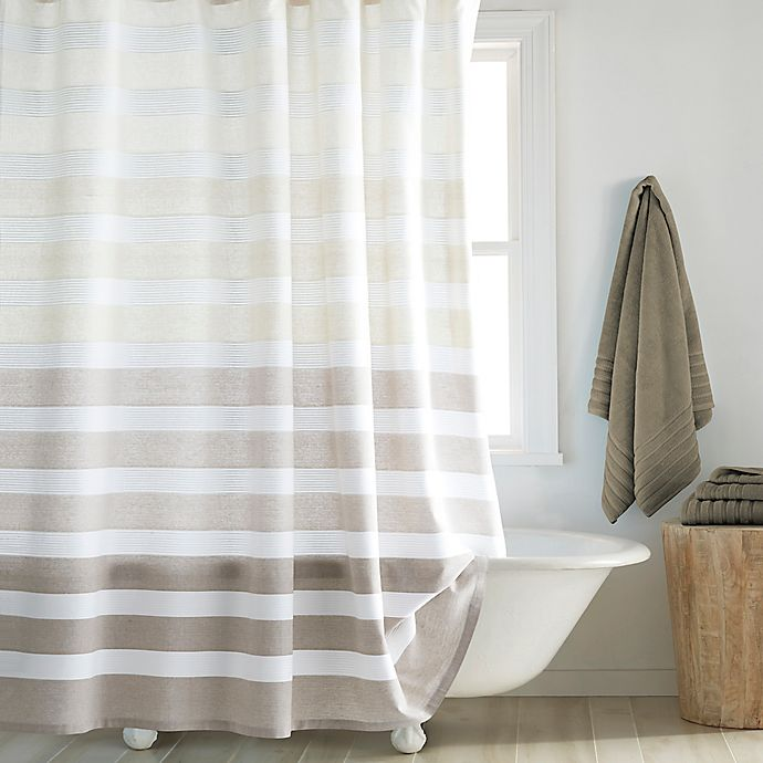 Alternate image 1 for DKNY Highline 72-Inch x 84-Inch Stripe Shower Curtain in Taupe
