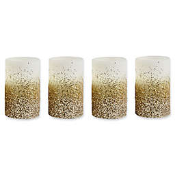 Loft Living Glitter Flameless LED Pillar Candles with Timer (Set of 4)
