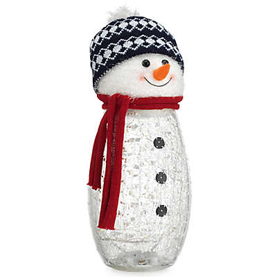Home Essentials & Beyond Snowman Hurricane Glass Candleholder with LED String Lights
