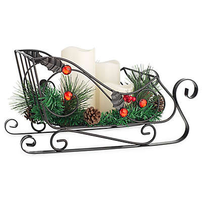 Home Essentials & Beyond Holiday Sleigh Candleholder with 3 LED Pillar Candles
