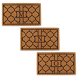 """Home & More Pantera Monogrammed """"Initial"""" 24-Inch x 36-Inch Thick Door Mat in Natural/Black"""