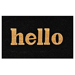 Home & More Block Hello Door Mat in Natural/Black