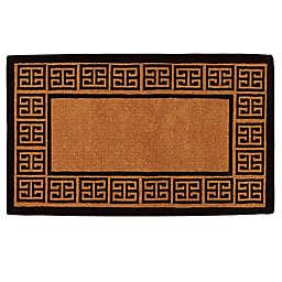 Home & More The Grecian Monogrammed Door Mat in Natural/Black