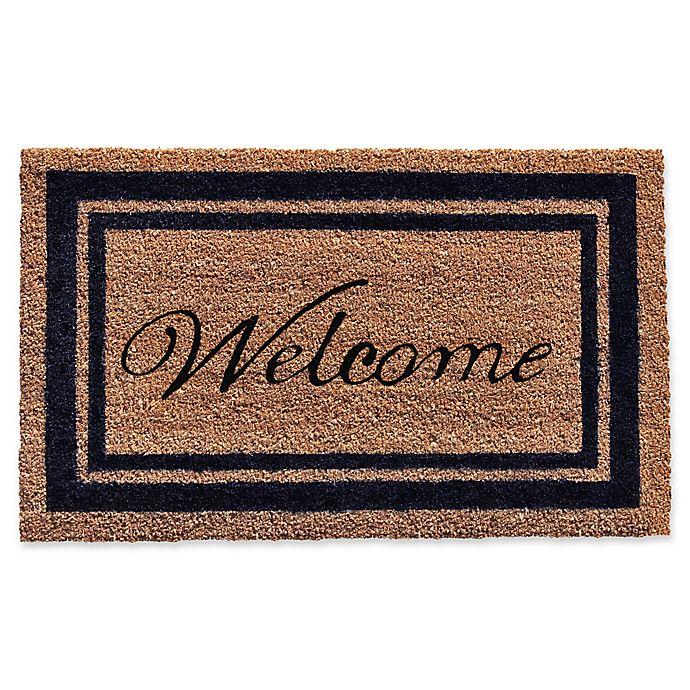 Alternate image 1 for Home & More Black Border Welcome Door Mat in Natural