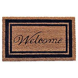 Home & More Black Border Welcome Door Mat in Natural
