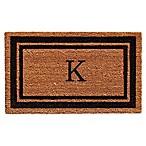 Home & More Border Monogrammed  K  18-Inch x 30-Inch Door Mat in Black