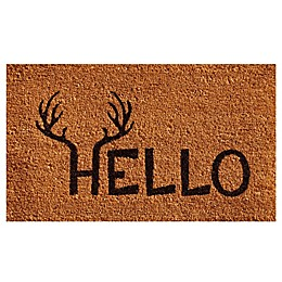 Home & More Antler Hello Door Mat in Natural/Black