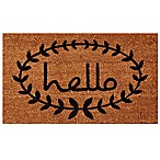 Home & More 24-Inch x 36-Inch Calico Hello Door Mat in Natural/Black