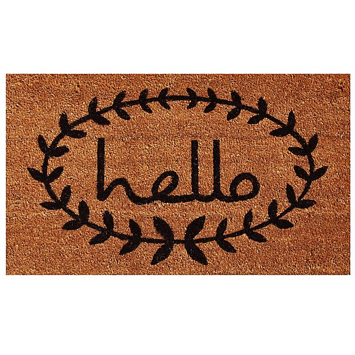 Alternate image 1 for Home & More Calico Hello Door Mat in Natural/Black