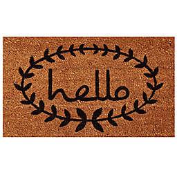 Home & More Calico Hello Door Mat in Natural/Black
