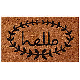 Home & More Calico Hello Door Mat in Natural/Black
