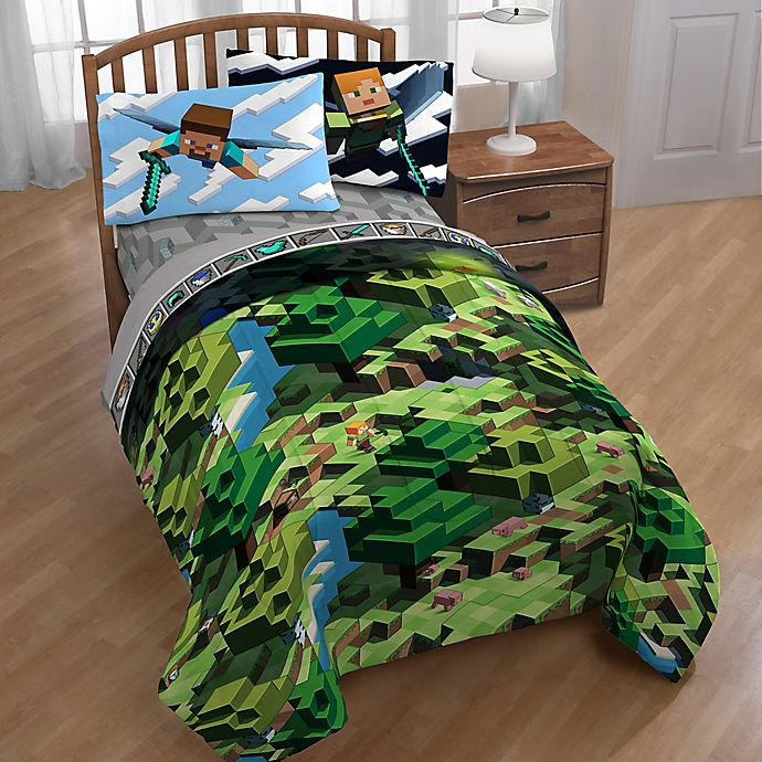 Minecraft Twin Full Comforter In Green Bed Bath And