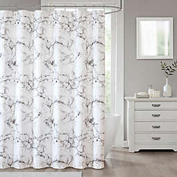 Marble Shower Curtain in Silver