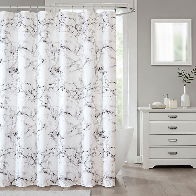 Alternate image 1 for Marble 70-Inch x 96-Inch Shower Curtain in Silver