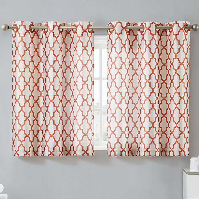 Alternate image 1 for Hookless® Monaco 38-Inch x 45-Inch Window Curtain Tier Pair in Mango