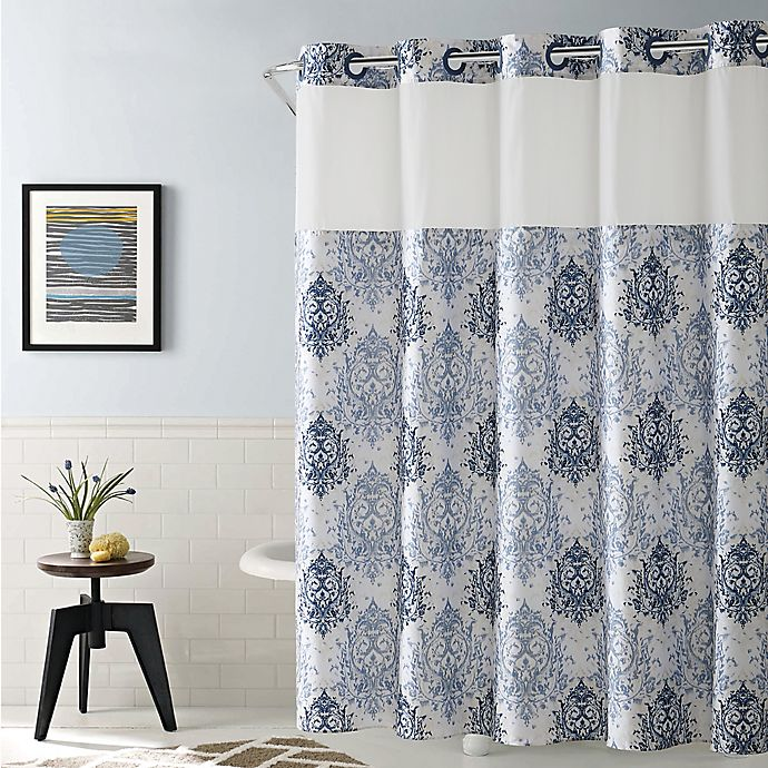Alternate image 1 for Hookless® Ikat 71-Inch x 86-Inch Shower Curtain in Estate Blue