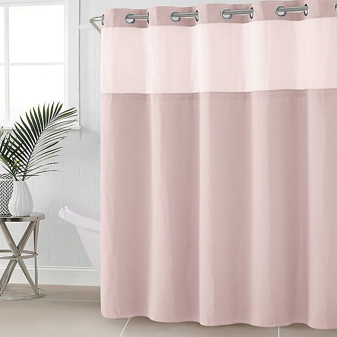 Alternate image 1 for Hookless® Waffle Fabric 71-Inch x 86-Inch Shower Curtain in Rosewater