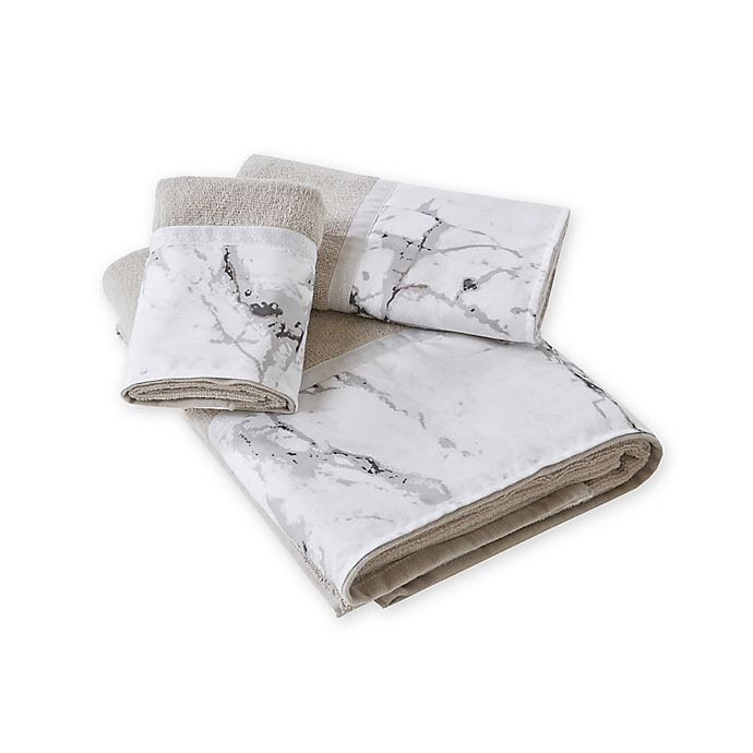 Alternate image 1 for Marble Hand Towel in Silver