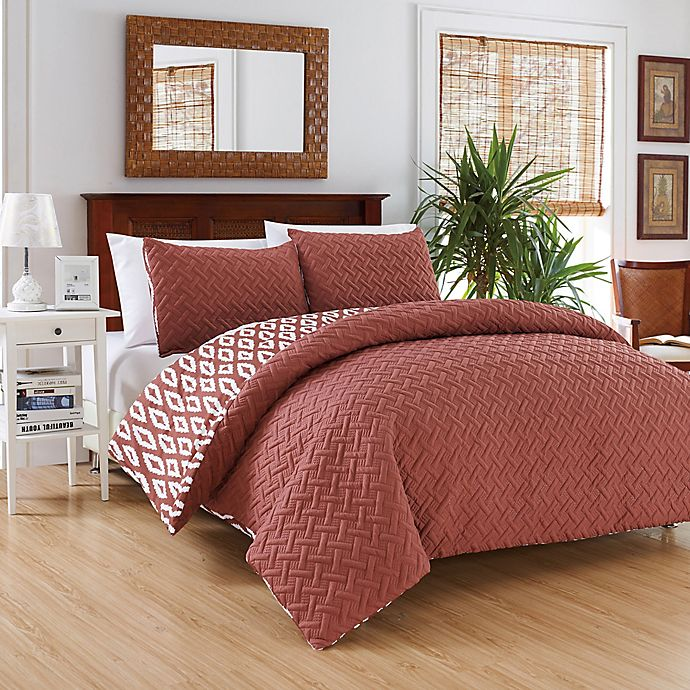 Alternate image 1 for Chic Home Maritoni 2-Piece Reversible Twin Comforter Set in Brick