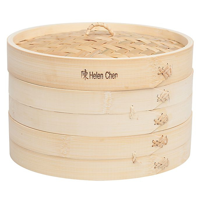 Alternate image 1 for Helen's Asian Kitchen® Bamboo Steamer with Lid (Set of 3)