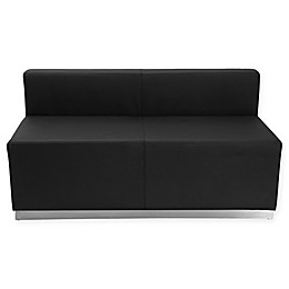 Flash Furniture Leather Loveseat with Stainless Steel Base