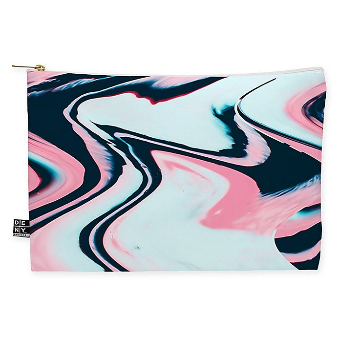 Alternate image 1 for Deny Designs Marta Barragan Camarasa Marble Glitch Medium Pouch in Blue