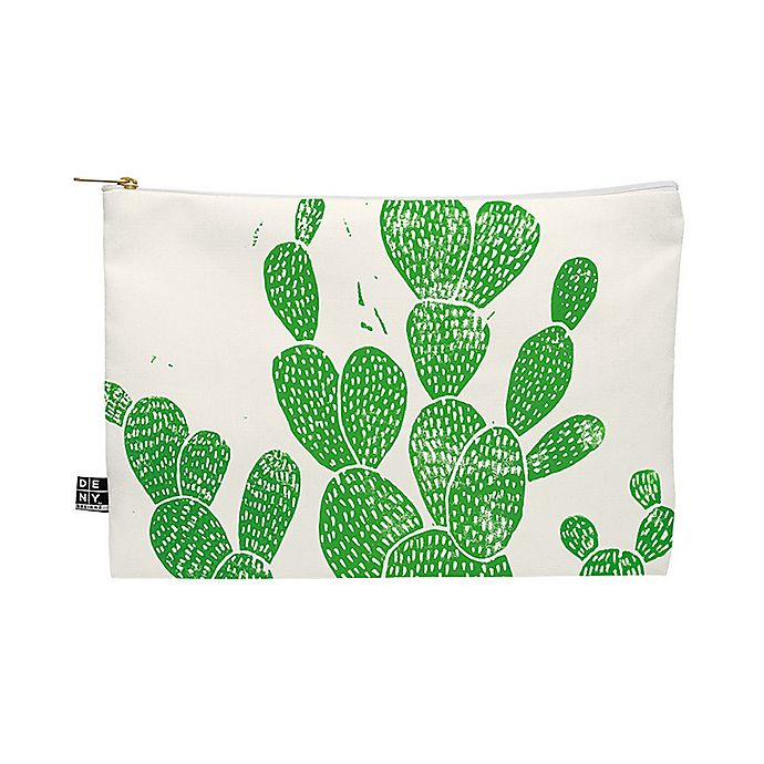 Alternate image 1 for Deny Designs Bianca Green Linocut Cacti 1 Family Medium Pouch in Green