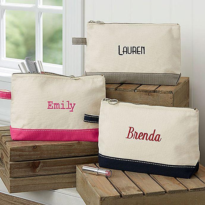 Alternate image 1 for Embroidered Canvas Name Makeup Bag