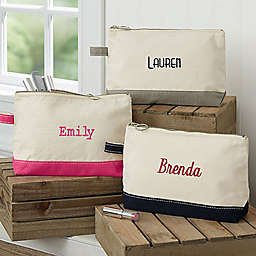 Embroidered Canvas Name Makeup Bag