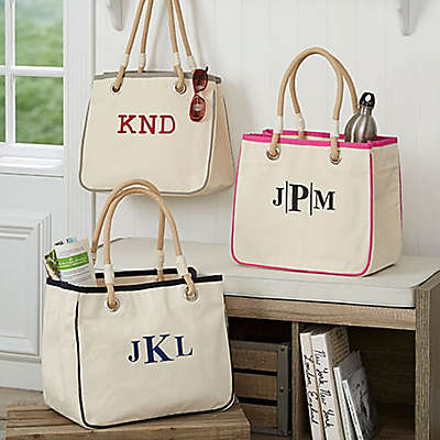Embroidered Canvas Monogram Rope Tote