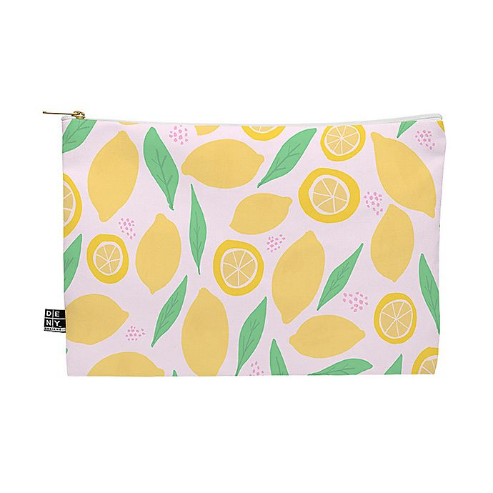 Alternate image 1 for Deny Designs Leah Flores Pink Lemonade Pattern Medium Pouch in Yellow