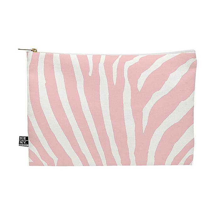 Alternate image 1 for Deny Designs Natalie Baca Zebra Stripes Citrus Medium Pouch in Pink