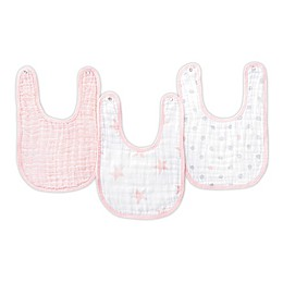 aden® by aden + anais® Muslin Snap Bibs in Pink/White