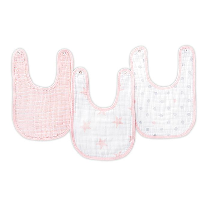 Alternate image 1 for aden® by aden + anais® Muslin Snap Bibs in Pink/White