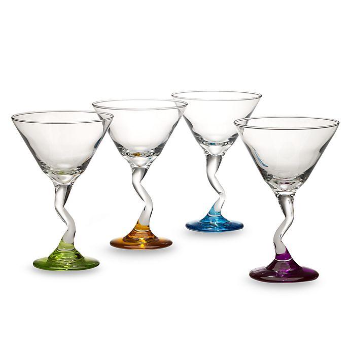 Libbey 174 Z Stem Color 9 1 4 Ounce Martini Glasses Set Of 4