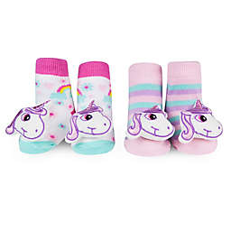 Waddle Size 0-12M 2-Pack Unicorn Rattle Baby Socks in Pink/Purple