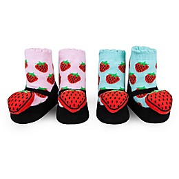 Waddle Size 0-12M 2-Pack Strawberry Rattle Baby Socks in Pink/Aqua
