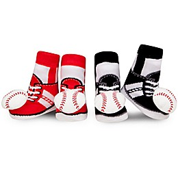 Waddle Size 0-12M 2-Pack Baseball Rattle Baby Socks in Red/Black