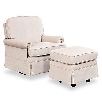 Abbyson Living Becca Swivel Glider Chair and Ottoman Set in Cream