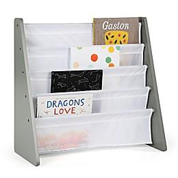 Tot Tutors Child's 4-Pocket  Book Rack in Grey/White